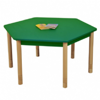 Height Adjustable Beechwood Hexagon Table Green